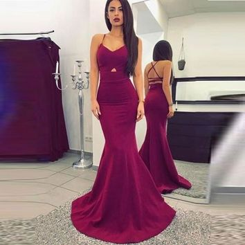 Burgundy Prom Dress, Mermaid Formal Gown With Cross Spaghetti Straps