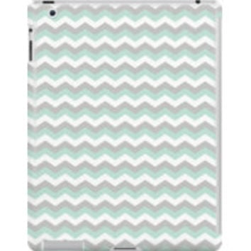 White Mint Green Gray Chevron Zigzag Pattern by TigerLynx