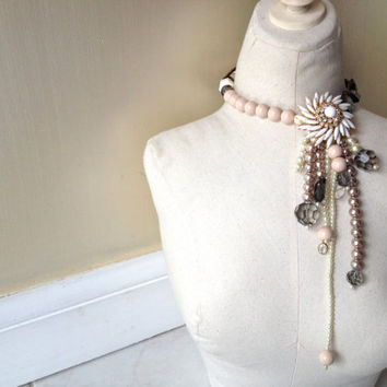 Flower Brooch Flapper Wedding Pearl Statement Necklace in Blush Pink, Gray, Mauve, White, Gold & Jewelry by ZILLAS QUEEN