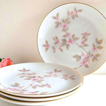 Vintage set FOUR Jyoto dessert cake plates Aida pattern side or b&b plates tea plates pink cherry blossom floral flower pink and gray JAPAN