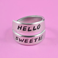 HELLO SWEETIE - Hand Stamped Aluminum Spirl Ring, Doctor Who Inspired Ring, Dr. Who The Doctor Fan Ring, Handwritten Font
