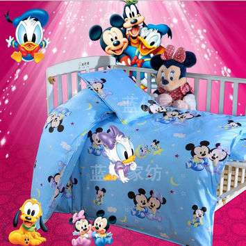 Discount! 3pcs Kitty Mickey baby crib bedding set cotton crib bumper baby cot sets ,include(duvet cover +sheet+pillowcase)