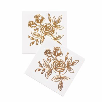 Gold Floral Temporary Tattoos by RIFLE PAPER Co.   Made in USA