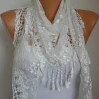 White Scarf - Lace Scarf - Cowl with Lace Edge Bridesmaid Gifts