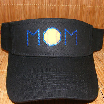 Softball mom hat/ visor made with rhinestones to match your child's team colors