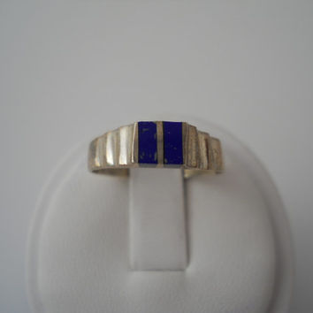 Sterling Silver 925 Double Lapis Inlay Ring Size 8 Step Band 925