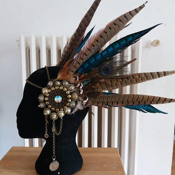 Tribal fusion headpiece / feather headpiece / boho headpiece / boho chic / feathers / tribal fusion bellydance / tribal headdress / ethnic headpiece
