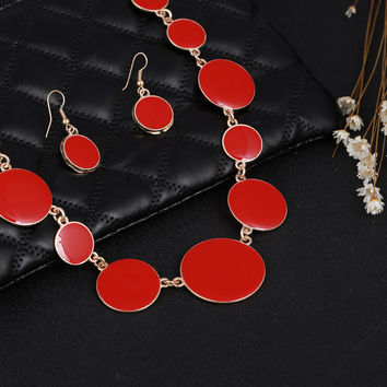 New Jewelry Sets 5 Colors Drip Round Choker Collar Statement Necklaces + Drop Earrings 2pcs/sets Bohemia Jewelry sets