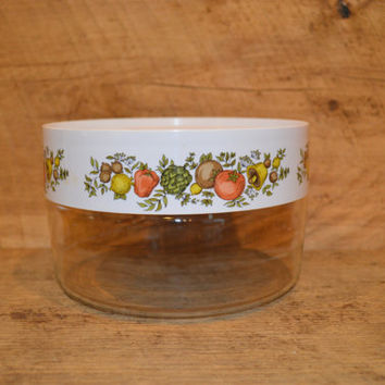Vintage Pyrex Canister with White Twist Off Lid in Spice of Life Pattern, Pyrex Food Storage, 1970's , Pyrex Vegetables, Peppers, Tomatoes