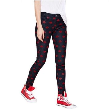 Printed Lips Black Jeans
