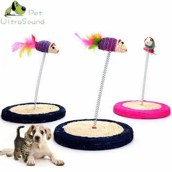 ULTRASOUND PET Funny Cat Toys Elastic Feather False Sisal Mouse Bottom Sucker Toys for Cat Kitten Playing Pet Seat Scratch Toy