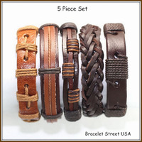 5 Piece handmade Leather Bracelet Set Leather and Hemp Braclet Friendship USA Seller Item # BST-182