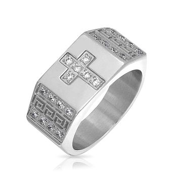 Wide Mens CZ Christian Greek Key Cross Ring Band Stainless Steel