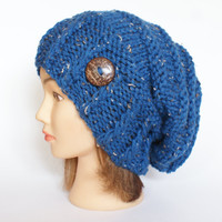 Blue Tweed slouch hat women - beanies hat - Slouch Beanie - chunky hat - Chunky Knit Winter Fall Accessories , Slouchy hat, irish handknit