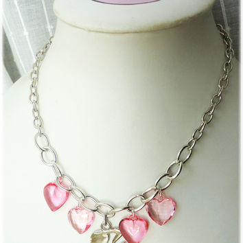 Barbie Necklace with Pink Heart Charms Chunky Silver by gatumi