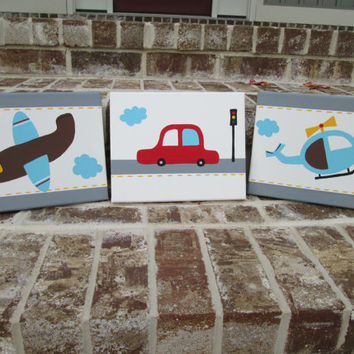 Transportation (Car, Helicopter, Airplane) Hand Painted Paintings Set Wall Decor Art for Nursery, Kids Room - You customize!