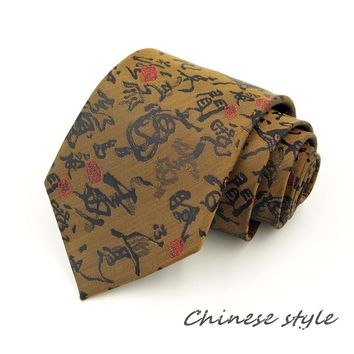 Free Shipping Tracking Code 9cm Chinese style Fashion Tie For Men Corbatas Novelty Embroidery Calligraphy Pattern Printed Brand