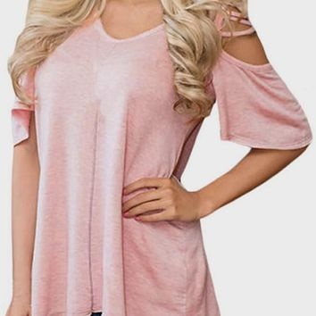 Pink Cut Out Sleeve V-neck Casual Office Worker/Daily T-Shirt