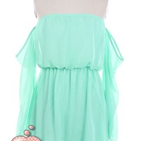 Off Shoulder MINT Long sleeve Elegant Dating Sexy Party Chiffon Flared Dress M