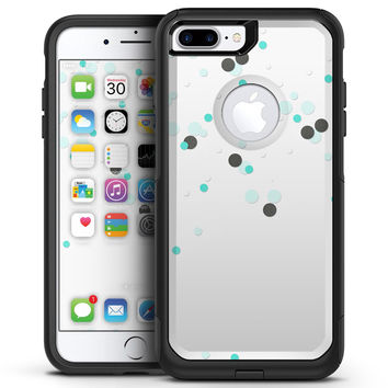 Abstract Scattered Black and Teal Dots - iPhone 7 or 7 Plus Commuter Case Skin Kit