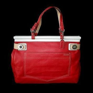 COACH VINTAGE GERANIUM RED LEATHER DOCTOR TOTE BUSINESS BRIEF BAG SATCHEL RARE!