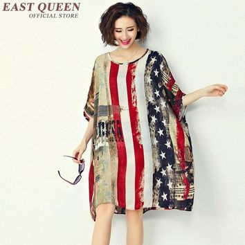 Large size women american flag print summer dress big size harajuku style female loose american flag dress  KK1175