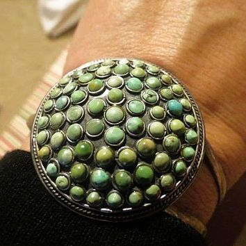 AUTHENTIC vintage Zuni Indian handcrafted sterling silver and natural turquoise cuff bracelet