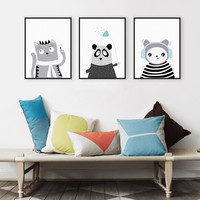 Triptych Modern Black White Kawaii Animals Panda Cat A4 Art Prints Poster Wall Picture Canvas Painting No Framed Kids Room Decor