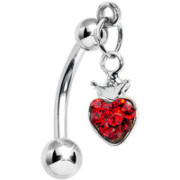 Top Down Ruby Red Gem Crowned Heart Dangle Belly Ring | Body Candy Body Jewelry
