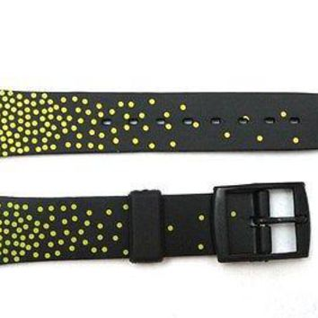 17mm Men's Black / Yellow Replacement Watch Band Strap fits SWATCH watches