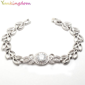 Yunkingdom new arrive classic wedding jewelry  zircons bracelet for women white gold filled bangle 4 colors