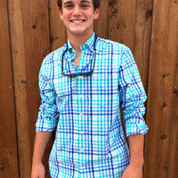 Vineyard Vines Dunlin Plaid Murray Shirt- Aquamarine