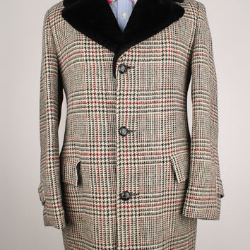 Preppy Casualcraft Beige PLAID Mens 38 R Car Coat Vtg TWEED WOOL
