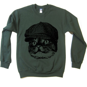 Unisex Cat Hooligan Sweater - American Apparel Flex Fleece Pullover Classic Sweatshirt - XS S M L and XL (3 Color Options)