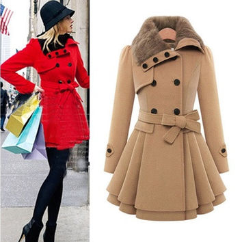Elegant Womens Winter Slim Double Breasted Coat Long Trench Coat Outwear Overcoat Windbreaker [8833578124]