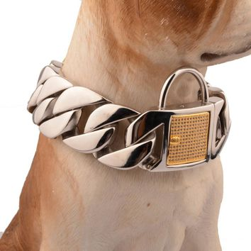 31MM Heavy Huge Duty Strong Stainless Steel Silver Gold Lock Buckle Dog Choker Cuban Curb Chain Training Collar Pit Bull 18-26""