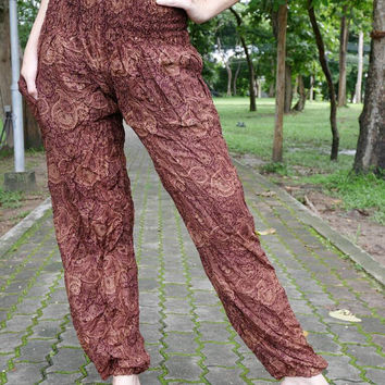 Bohemian pants Boho chic pants Yoga pants women Palazzo pants Harem pants Hippy pants Thailand pants Scarlett color