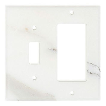 Italian Calacatta Gold Marble Toggle Rocker Switch Wall Plate / Switch Plate / Cover - Honed