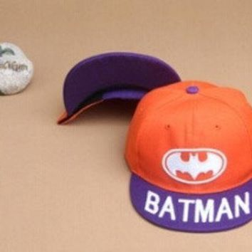 PEAPIX3 2015 Children stunning Batman flat brimmed Baseball Cap Cute Sport Hats Boys Girls Hip Hop cap