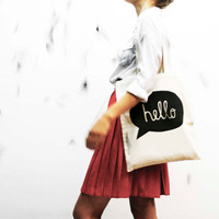 hand screenprinted cotton shopping bag hand screen printed cotton bag HELLO