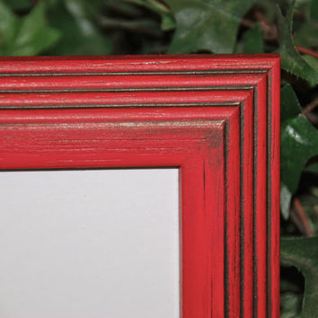 Country cottage chic red 5x7 hand-painted decorative wooden wall collage gallery picture frame