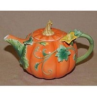 Painted Fall Pumpkin Teapot - FREE Pumpkin Spice Tea Included!