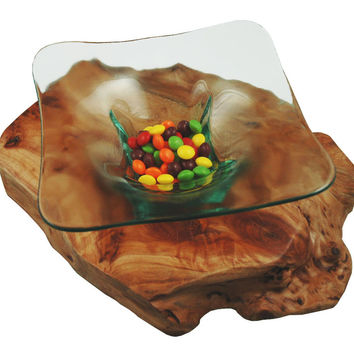 "American Metalcraft GT773 Glacier 7"" Square Glass Bowl"