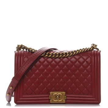 CHANEL Lambskin Quilted New Medium Boy Flap Red