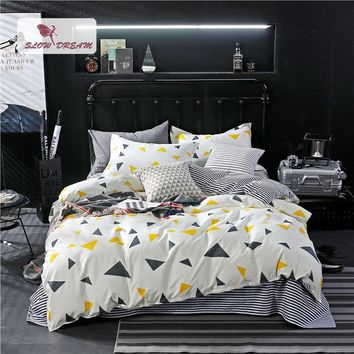 Cool SlowDream Geometry Bedding Set luxury Bedspread Comforter Double Sheets Duvet Cover Linens Nordic Adult Queen King BedclothesAT_93_12