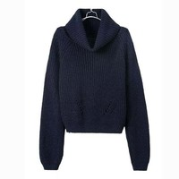Loose Solid Color Striped Knit Pullovers Sweater