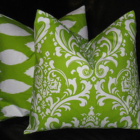 """Accent Pillows Decorative Home Decor Pillow Covers LIME Green 20 inch chartreuse, white IKAT Damask 20"""""""