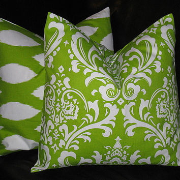 Accent Pillows Decorative Home Decor Pillow Covers LIME Green 20 inch chartreuse, white IKAT Damask 20""
