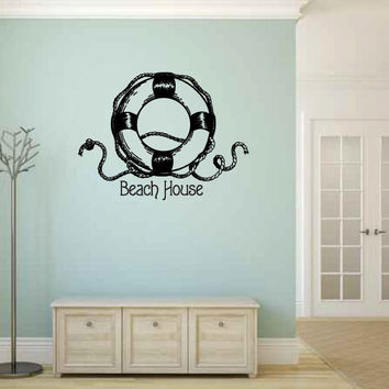 Beach House with Life Ring Vinyl Wall Words Decal Sticker Graphic