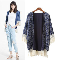 Stylish Print Tassels Women's Fashion Tops Jacket [5013187908]